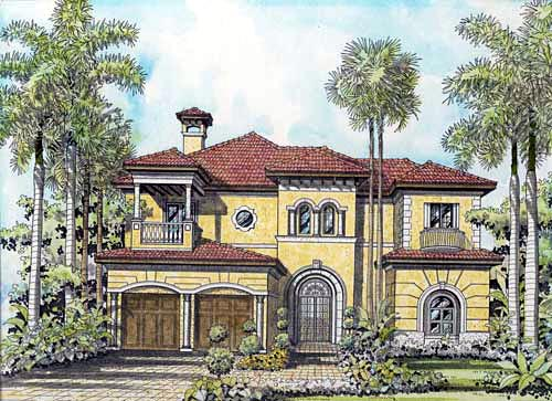 House Plan 55799 with 6 Beds, 7 Baths, 3 Car Garage Elevation