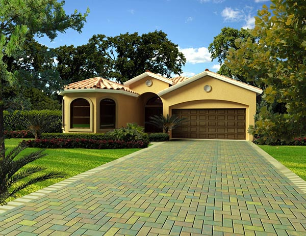 Florida, Narrow Lot, One-Story House Plan 55865 with 4 Beds, 3 Baths, 2 Car Garage Elevation