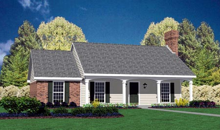 Colonial, One-Story House Plan 56010 with 3 Beds, 2 Baths, 2 Car Garage Elevation