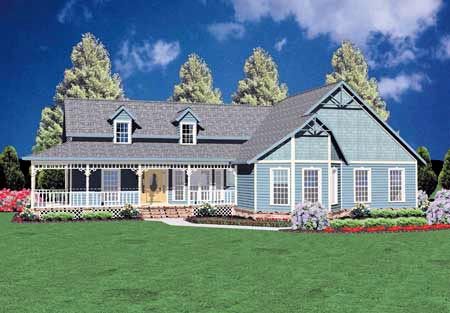 Country, One-Story House Plan 56127 with 3 Beds, 2 Baths, 2 Car Garage Front Elevation