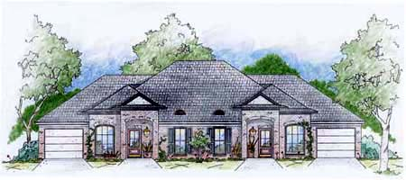 Multi-Family Plan 56240 with 2 Beds, 2 Baths, 1 Car Garage Elevation