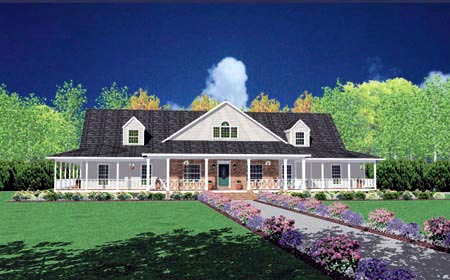 Traditional House Plan 56319 with 4 Beds, 4 Baths, 3 Car Garage Front Elevation