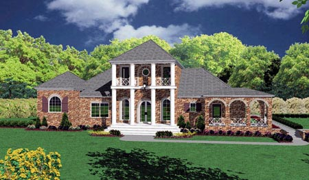 Colonial House Plan 56328 with 4 Beds, 3 Baths, 2 Car Garage Front Elevation