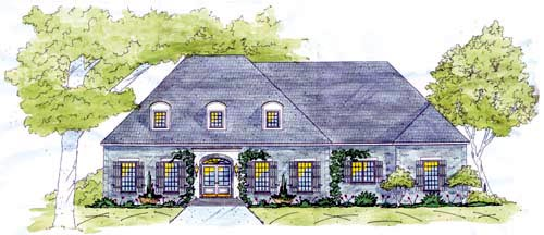 European House Plan 56330 with 4 Beds, 3 Baths, 3 Car Garage Front Elevation