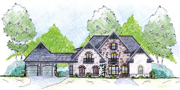 House Plan 56334 with 5 Beds, 5 Baths, 2 Car Garage Elevation