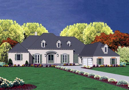 European House Plan 56336 with 4 Beds, 4 Baths, 2 Car Garage Front Elevation
