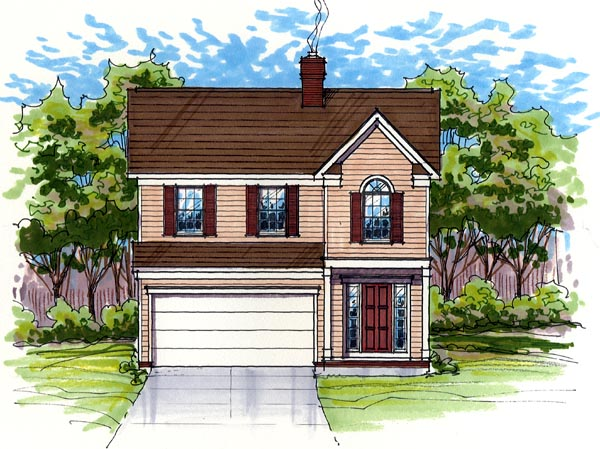 Colonial, Country, Farmhouse, Narrow Lot, Traditional House Plan 56400 with 3 Beds, 3 Baths, 2 Car Garage Elevation