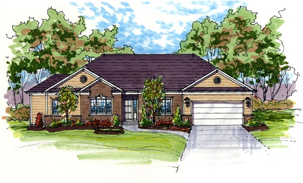 Contemporary, One-Story, Ranch, Traditional House Plan 56405 with 3 Beds, 3 Baths, 2 Car Garage Elevation