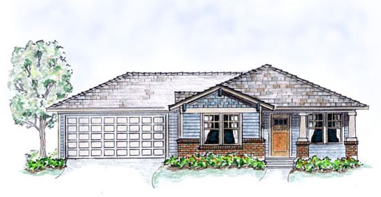 Bungalow, Craftsman House Plan 56503 with 3 Beds, 2 Baths, 2 Car Garage Front Elevation