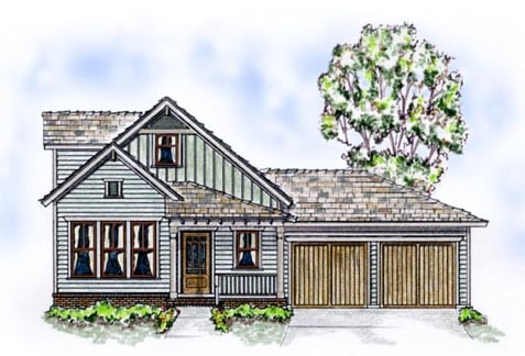 Bungalow, Country, Farmhouse House Plan 56507 with 3 Beds, 3 Baths, 2 Car Garage Front Elevation