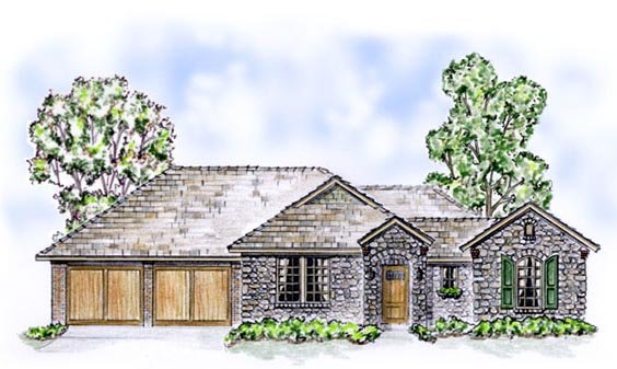 European, Traditional House Plan 56522 with 2 Beds, 3 Baths, 2 Car Garage Front Elevation