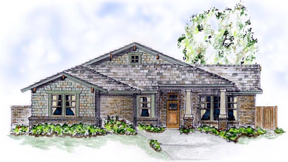 Craftsman, One-Story House Plan 56526 with 3 Beds, 2 Baths, 2 Car Garage Front Elevation