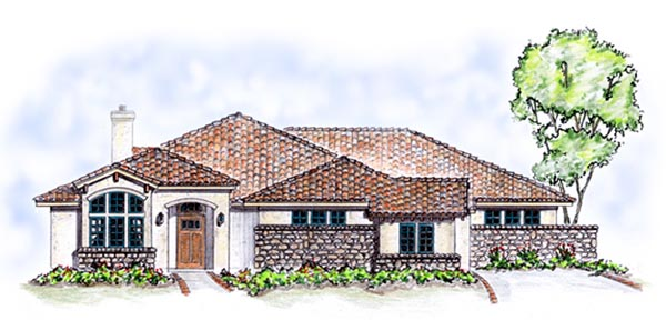 Florida, Mediterranean, One-Story House Plan 56537 with 3 Beds, 2 Baths, 3 Car Garage Front Elevation