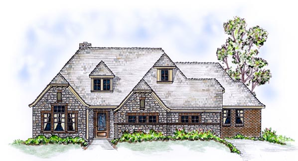European, One-Story House Plan 56538 with 3 Beds, 3 Baths, 2 Car Garage Elevation