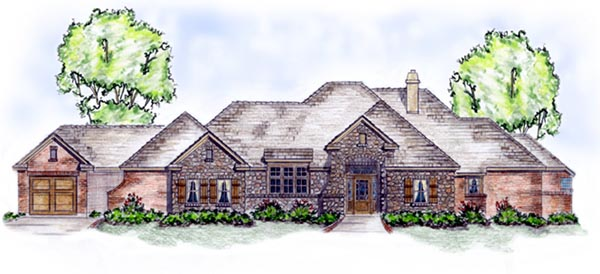 European House Plan 56539 with 3 Beds, 3 Baths, 3 Car Garage Elevation