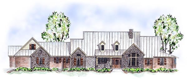 European, Traditional House Plan 56543 with 3 Beds, 2 Baths, 3 Car Garage Elevation