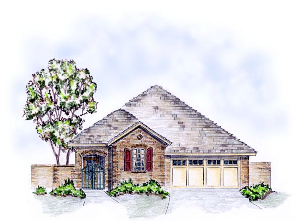 House Plan 56554 with 3 Beds, 2 Baths, 2 Car Garage Front Elevation