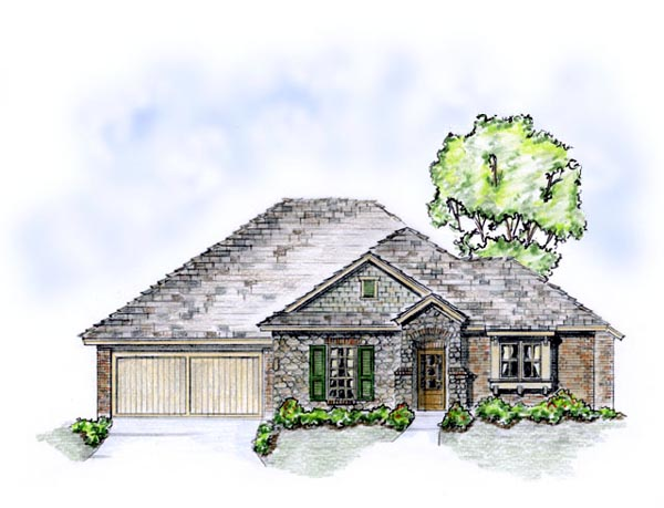 European, Traditional House Plan 56559 with 3 Beds, 2 Baths, 2 Car Garage Front Elevation