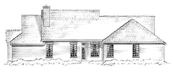 Craftsman, Traditional House Plan 56563 with 3 Beds, 2 Baths, 2 Car Garage Rear Elevation