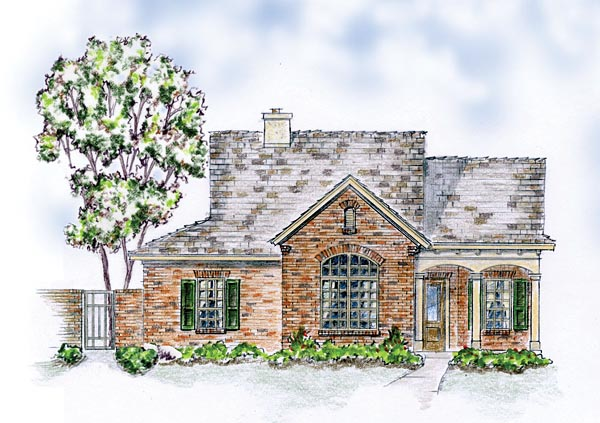 Bungalow, European, Ranch, Traditional House Plan 56571 with 3 Beds, 2 Baths, 2 Car Garage Front Elevation