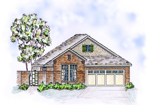 European, Ranch, Traditional House Plan 56572 with 3 Beds, 2 Baths, 2 Car Garage Elevation