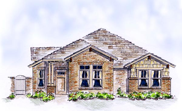 Bungalow, Country, European, Farmhouse, Traditional House Plan 56575 with 3 Beds, 2 Baths, 2 Car Garage Front Elevation