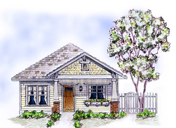 Cottage, Craftsman House Plan 56578 with 2 Beds, 2 Baths, 1 Car Garage Elevation