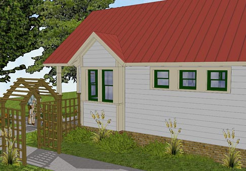 Bungalow, Cabin, Cottage, Traditional House Plan 56581 with 1 Beds, 1 Baths Picture 2
