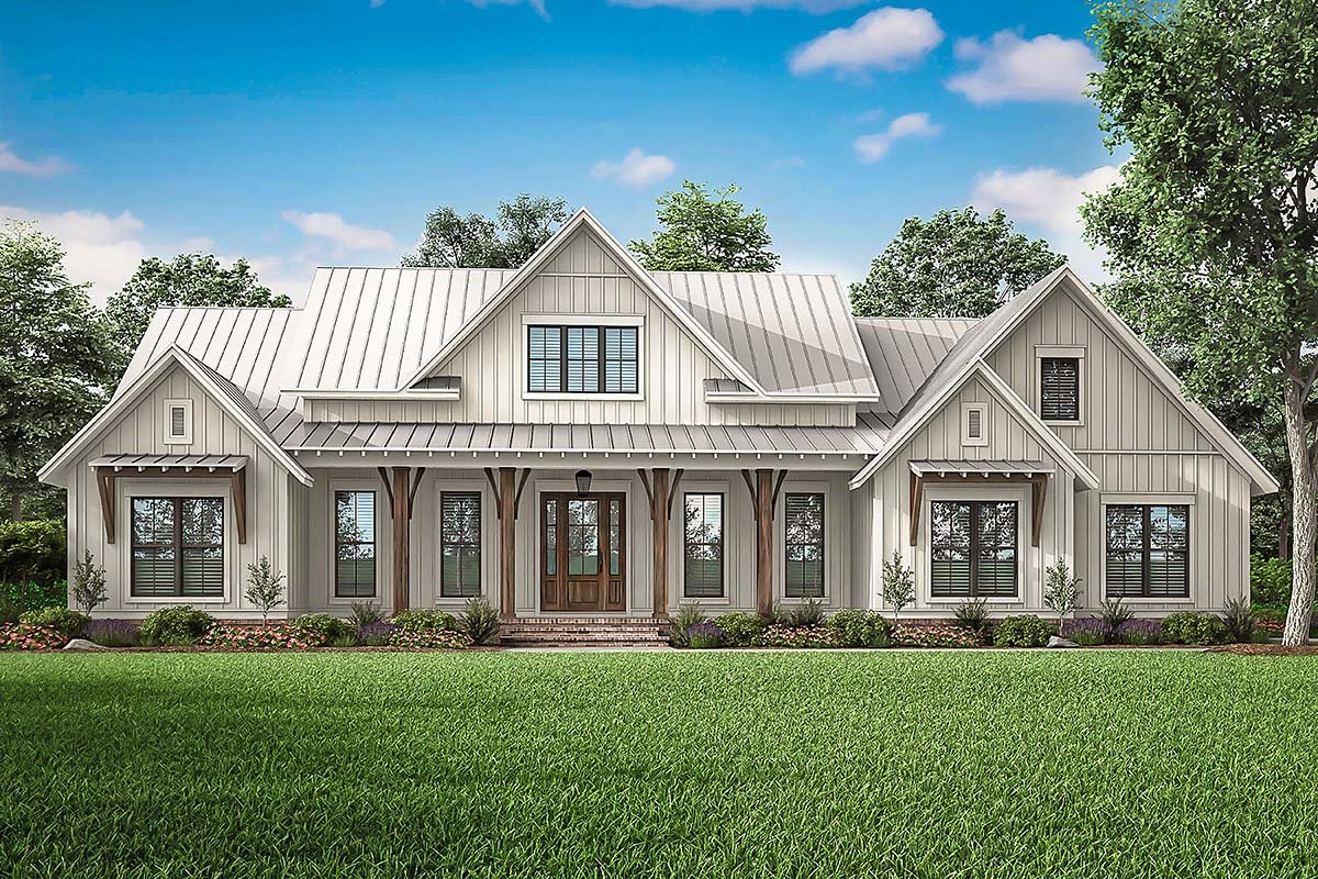 Country, Craftsman, Farmhouse Plan with 2553 Sq. Ft., 3 Bedrooms, 3 Bathrooms, 2 Car Garage Elevation
