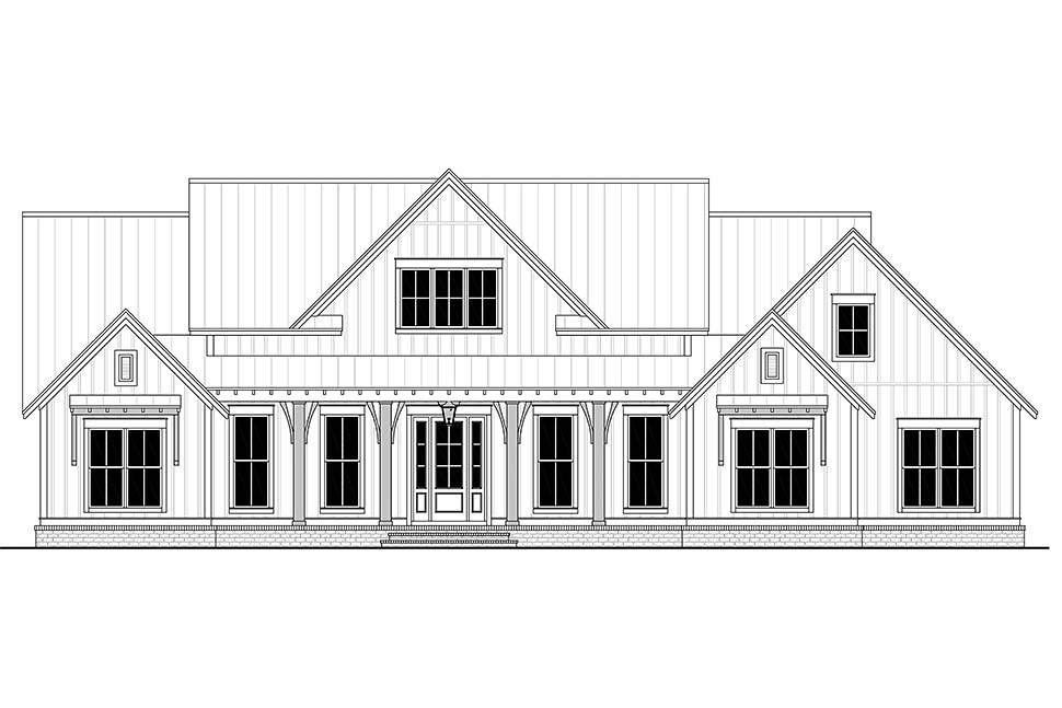 Country, Craftsman, Farmhouse Plan with 2553 Sq. Ft., 3 Bedrooms, 3 Bathrooms, 2 Car Garage Picture 4
