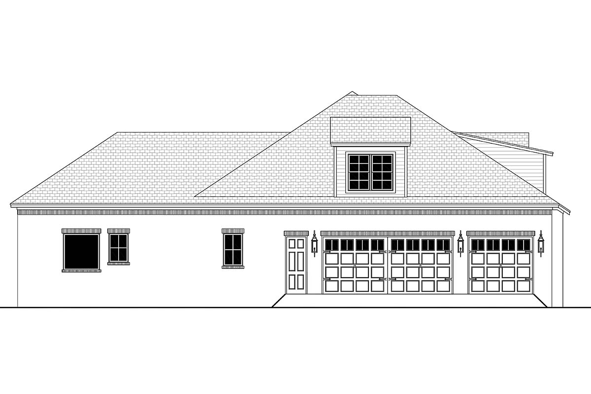 Country, European, French Country House Plan 56701 with 4 Beds, 3 Baths, 3 Car Garage Picture 2
