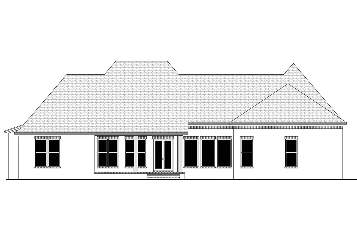Country, European, French Country House Plan 56701 with 4 Beds, 3 Baths, 3 Car Garage Rear Elevation