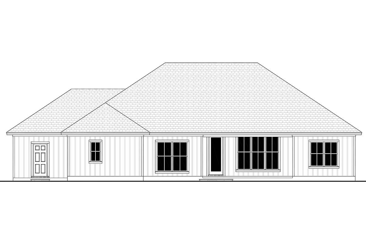 Craftsman, Farmhouse, Ranch House Plan 56707 with 3 Beds, 3 Baths, 3 Car Garage Rear Elevation