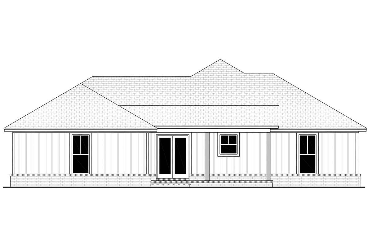 Country, Craftsman, Farmhouse, Traditional House Plan 56708 with 3 Beds, 2 Baths, 2 Car Garage Rear Elevation