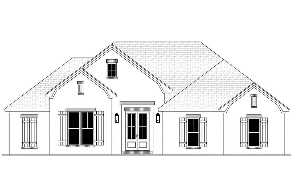 Country, French Country, One-Story, Traditional House Plan 56709 with 3 Beds, 2 Baths, 2 Car Garage Picture 3