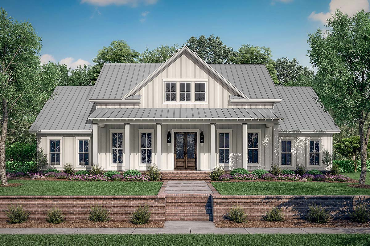 Country, Farmhouse, One-Story, Traditional House Plan 56710 with 4 Beds, 3 Baths, 2 Car Garage Front Elevation