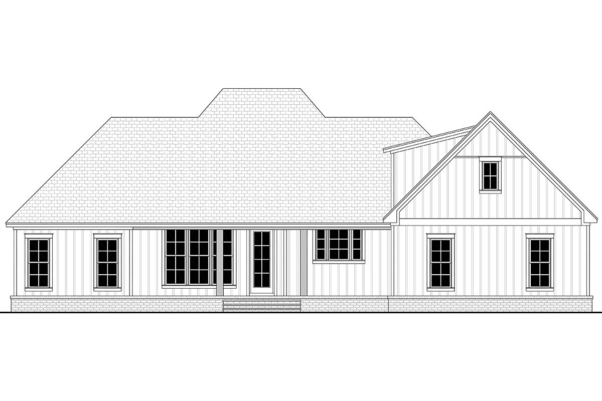 Country, Craftsman, Farmhouse, Southern, Traditional House Plan 56711 with 3 Beds, 3 Baths, 2 Car Garage Rear Elevation