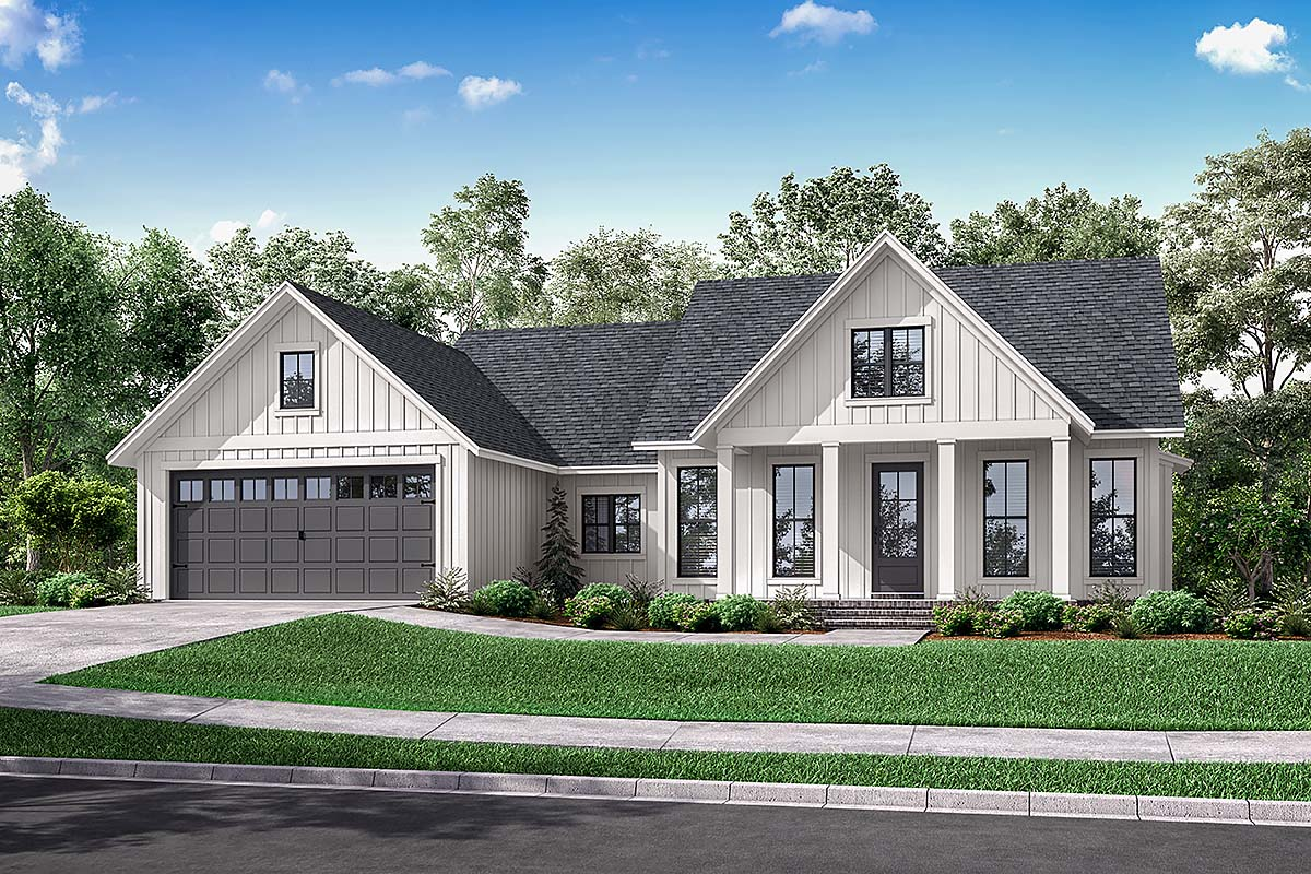 Cottage, Country, Farmhouse, Modern, One-Story, Traditional House Plan 56715 with 3 Beds, 2 Baths, 2 Car Garage Elevation