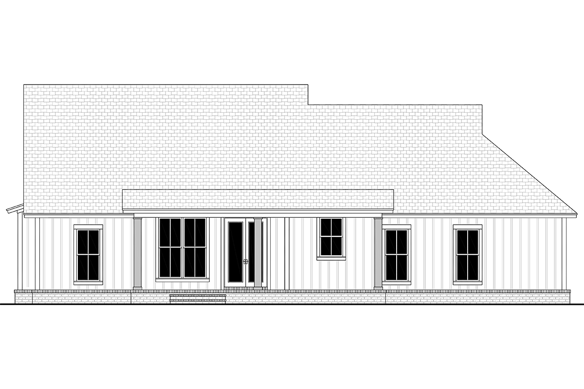 Cottage, Country, Farmhouse, Modern, One-Story, Traditional House Plan 56715 with 3 Beds, 2 Baths, 2 Car Garage Rear Elevation