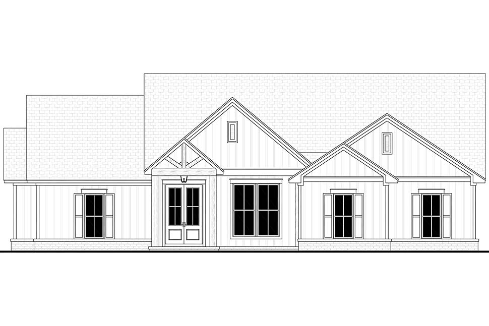 Country, Farmhouse, One-Story House Plan 56719 with 4 Beds, 2 Baths, 2 Car Garage Picture 3