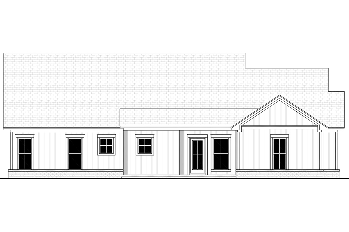 Country, Farmhouse, One-Story House Plan 56719 with 4 Beds, 2 Baths, 2 Car Garage Rear Elevation