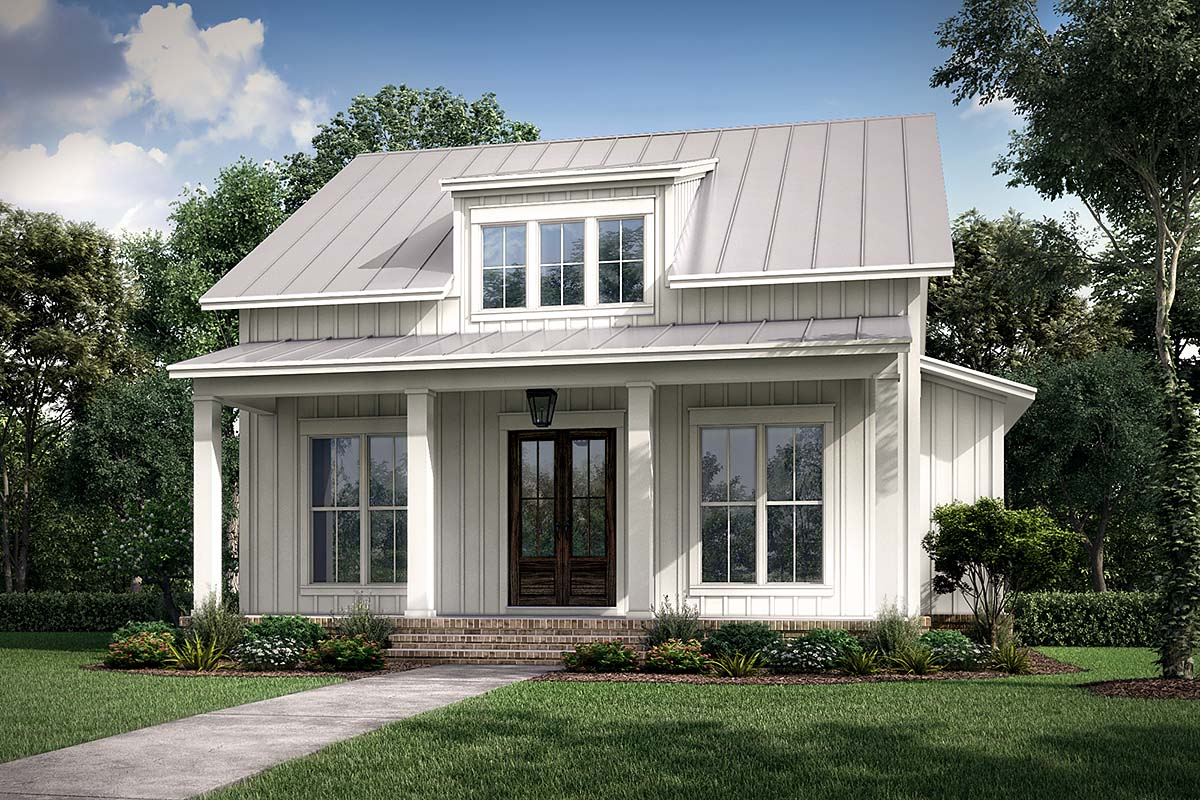 Cottage, Country, Farmhouse House Plan 56721 with 2 Beds, 2 Baths Front Elevation