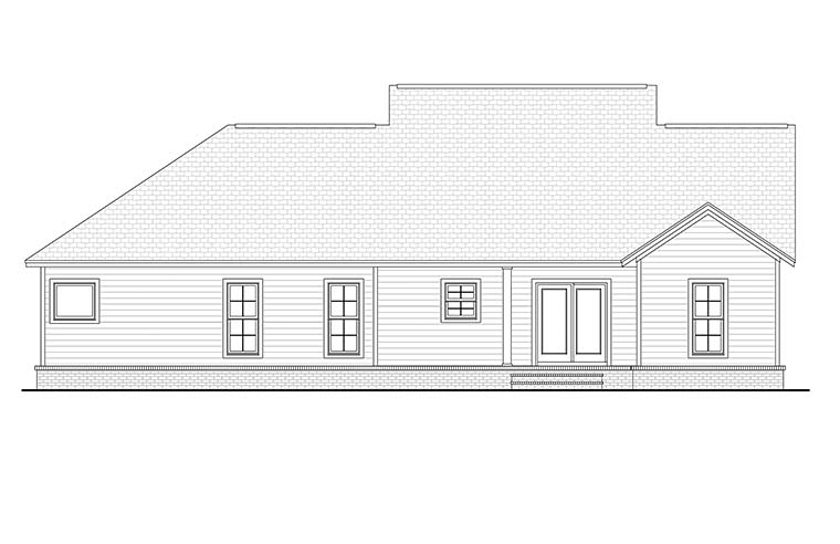 Cottage, Country, Craftsman, Traditional House Plan 56902 with 3 Beds, 2 Baths, 2 Car Garage Rear Elevation