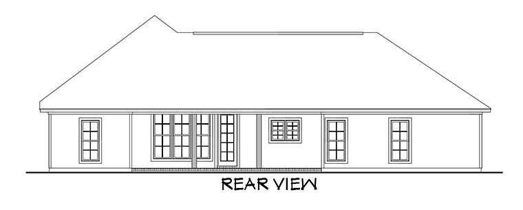 Country, Craftsman, Southern, Traditional House Plan 56905 with 3 Beds, 2 Baths, 2 Car Garage Rear Elevation