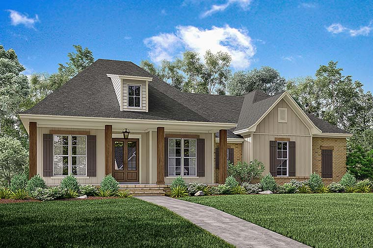 Country, European, French Country, Southern House Plan 56908 with 3 Beds, 2 Baths, 2 Car Garage Elevation