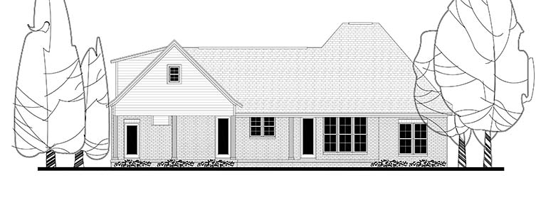 Country, European, French Country, Southern House Plan 56908 with 3 Beds, 2 Baths, 2 Car Garage Rear Elevation