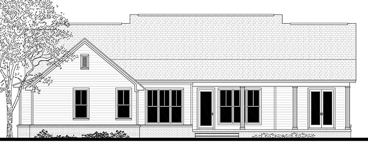 Country, Ranch, Southern, Traditional House Plan 56909 with 3 Beds, 3 Baths, 2 Car Garage Rear Elevation