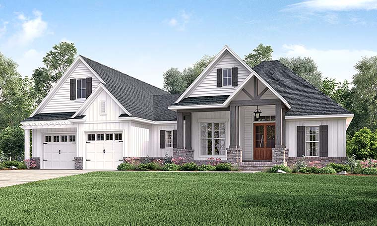 Country, Craftsman, Southern, Traditional House Plan 56911 with 3 Beds, 2 Baths, 2 Car Garage Elevation