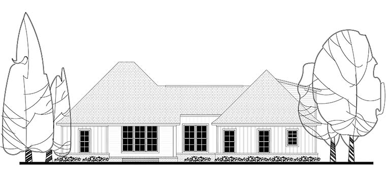 Country, Craftsman, Southern, Traditional House Plan 56911 with 3 Beds, 2 Baths, 2 Car Garage Rear Elevation
