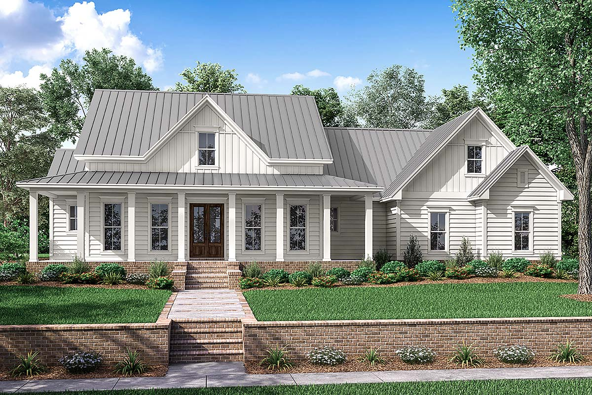 Country, Farmhouse, Southern, Traditional House Plan 56916 with 3 Beds, 3 Baths, 2 Car Garage Front Elevation